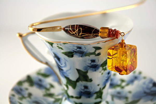 Autumn reflections gold plated bookmark, etsy, blue cup, medium