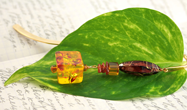 Autumn reflections gold plated bookmark, etsy, leaf, medium