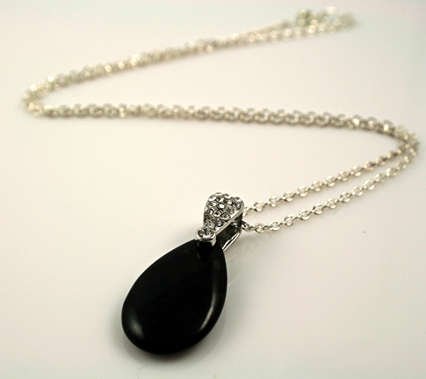 Black tuxedo necklace, etsy, closeup, medium