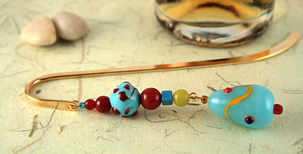 Blue candy gold plated bookmark, etsy, beige bg, medium