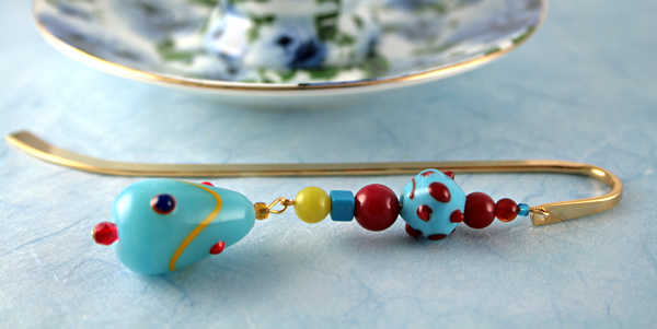 Blue candy gold plated bookmark, etsy, blue bg, medium