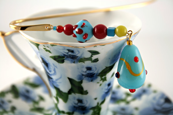 Blue candy gold plated bookmark, etsy, blue cup, medium