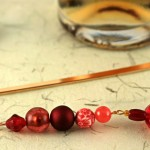 Candy red gold plated bookmark, etsy, beige bg, medium