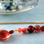 Candy red gold plated bookmark, etsy, blue bg, medium