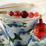 Candy red gold plated bookmark, etsy, blue cup, medium