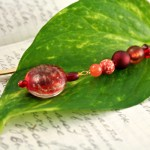 Candy red gold plated bookmark, etsy, leaf, medium