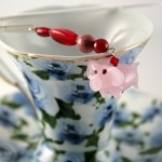 Flying piggy silver plated bookmark, etsy, blue cup, medium