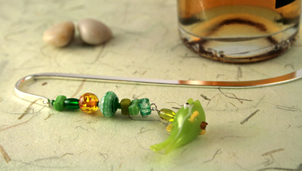 Green fish silver plated bookmark, etsy, beige bg, medium