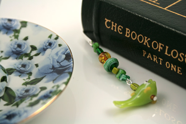 Green fish silver plated bookmark, etsy, book and saucer, medium