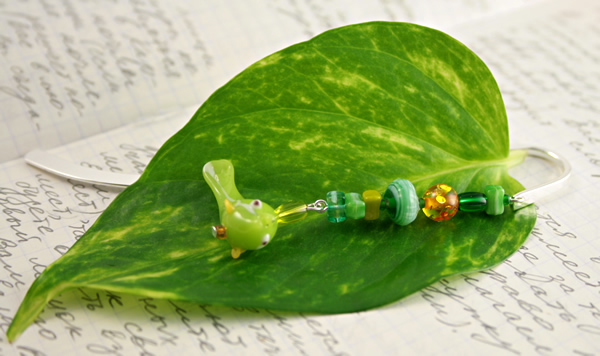 Green fish silver plated bookmark, etsy, leaf, medium