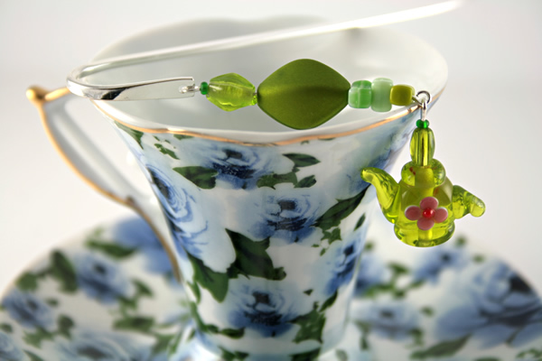 Green tea silver plated bookmark, etsy, blue cup, medium