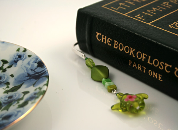 Green tea silver plated bookmark, etsy, book, medium