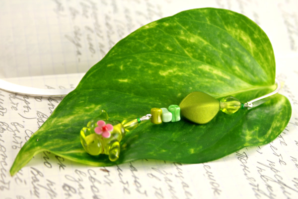 Green tea silver plated bookmark, etsy, leaf, medium