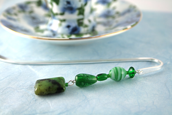 Meadows green silver plated bookmark, etsy, blue bg, medium