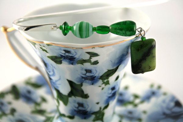 Meadows green silver plated bookmark, etsy, blue cup, medium