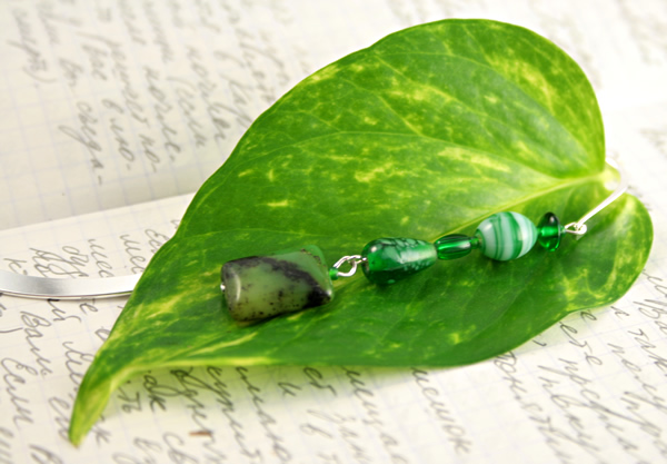 Meadows green silver plated bookmark, etsy, leaf, medium