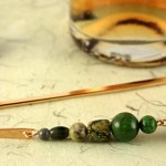Mountain green gold plated bookmark, etsy, beige bg, medium