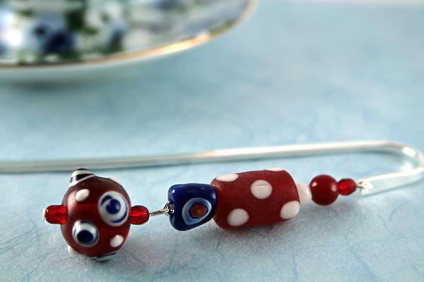 Polka dot candy silver plated bookmark, etsy, blue bg, medium