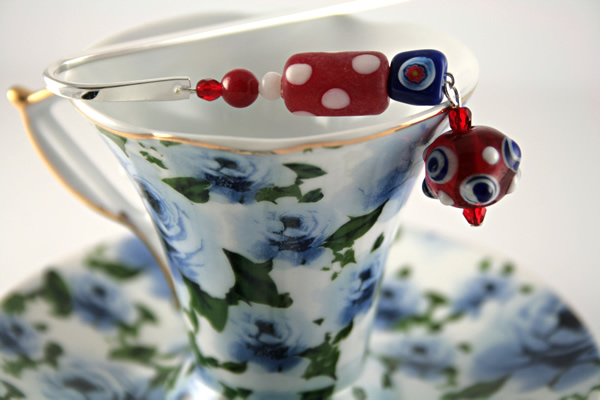 Polka dot candy silver plated bookmark, etsy, blue cup, medium