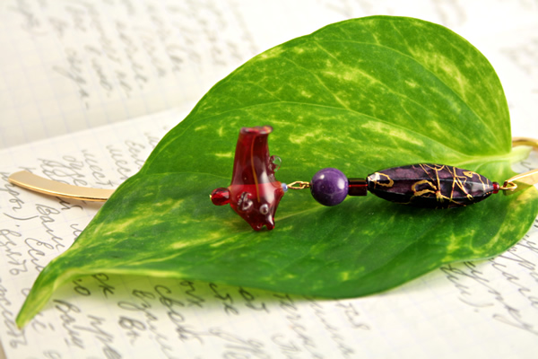 Sea purple gold plated bookmark, etsy, leaf, medium