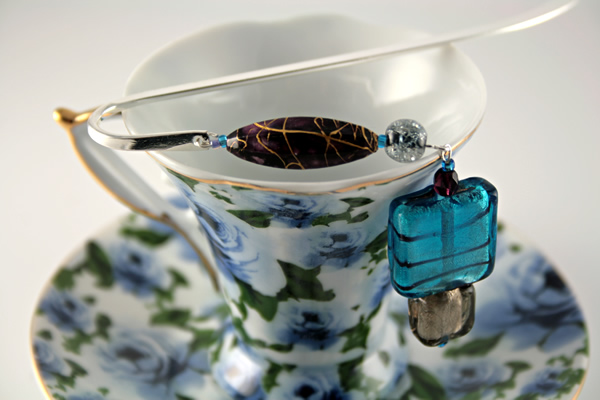 Thunderstorm silver plated bookmark, etsy, blue cup, medium
