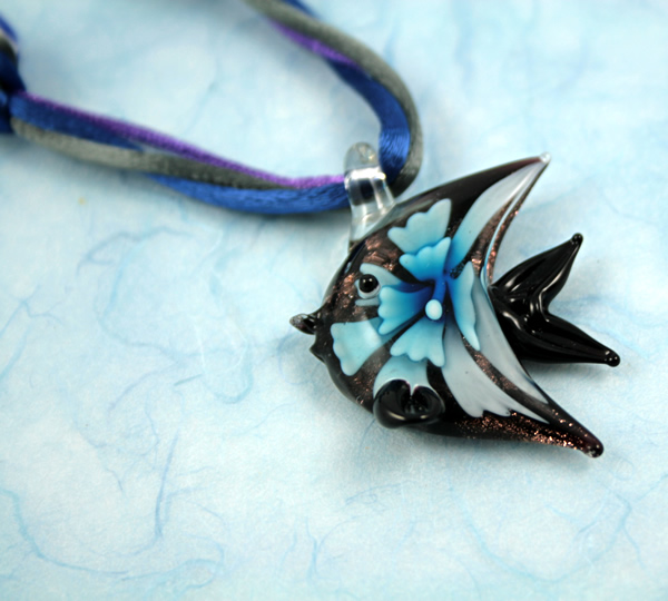 Flower fish necklace, etsy, blue closeup, medium