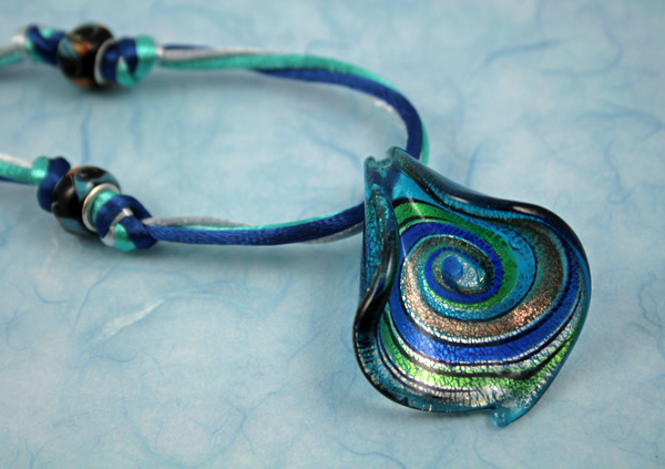 Ocean breeze necklace, etsy, blue closeup, medium