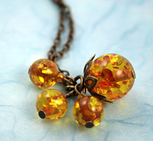 Sunlight bubbles necklace, etsy, blue bg closeup, medium