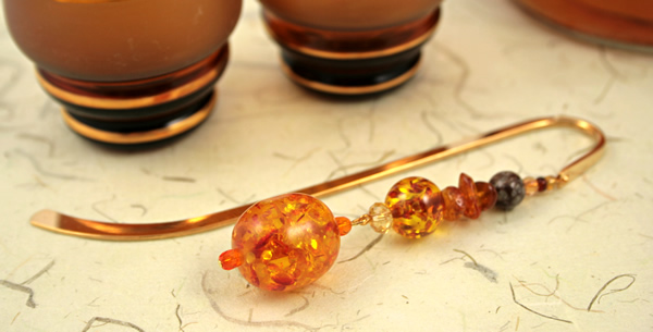 Amber cave gold plated bookmark, etsy, beige bg, medium