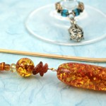 Amber trail gold plated bookmark, etsy, blue bg, medium