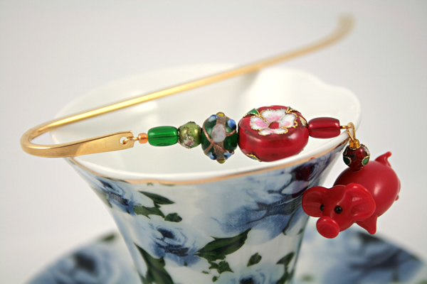 Chinese piggy gold plated bookmark, etsy, blue cup, medium