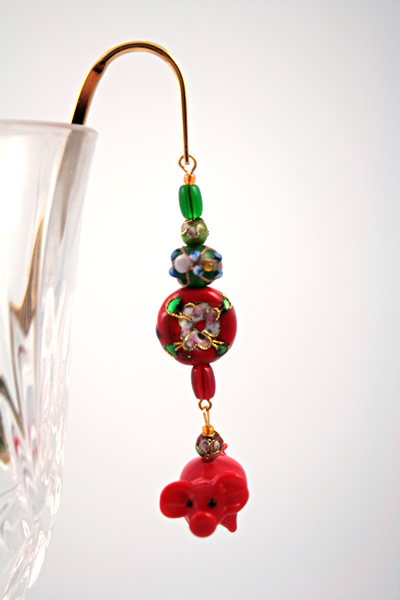 Chinese piggy gold plated bookmark, etsy, glass, medium