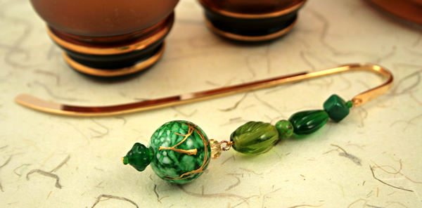 Green crystal gold plated bookmark, etsy, beige bg, medium
