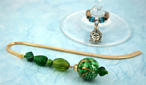 Green crystal gold plated bookmark, etsy, blue bg, medium