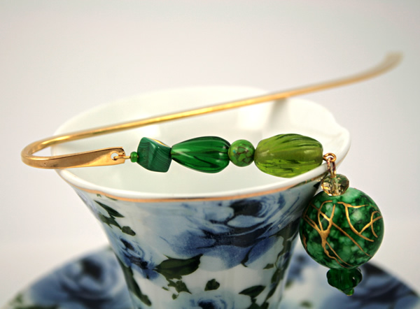 Green crystal gold plated bookmark, etsy, blue cup, medium