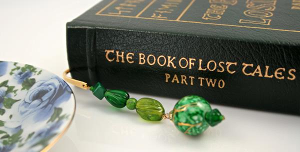 Green crystal gold plated bookmark, etsy, book, medium