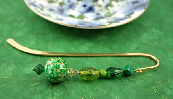 Green crystal gold plated bookmark, etsy, green bg, medium