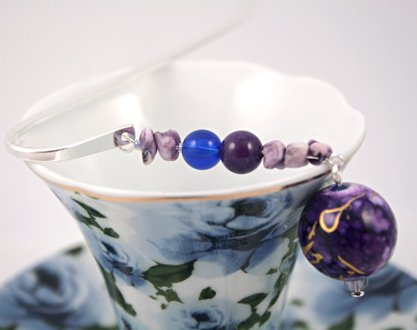 Purple bubbles silver plated bookmark, etsy, blue cup, medium
