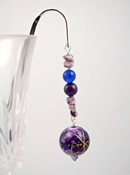 Purple bubbles silver plated bookmark, etsy, glass, medium
