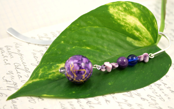 Purple bubbles silver plated bookmark, etsy, leaf, medium