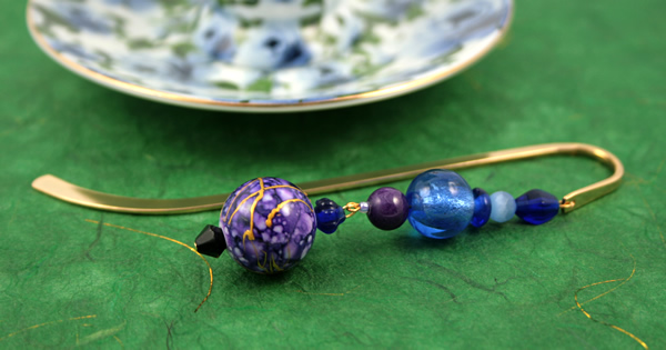 Purple lantern gold plated bookmark, etsy, green bg, medium