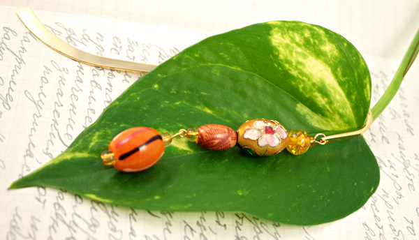 Sunny flower gold plated bookmark, etsy, leaf, medium