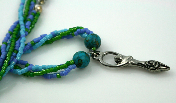 Birth goddess turquoise necklace, large pendant, closeup, etsy, md
