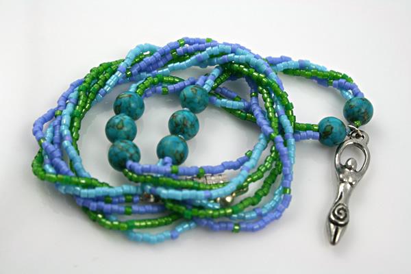 Birth goddess turquoise necklace, large pendant, curled, etsy, md