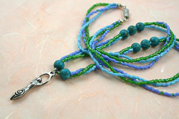 Birth goddess turquoise necklace, large pendant, peach bg, etsy, md