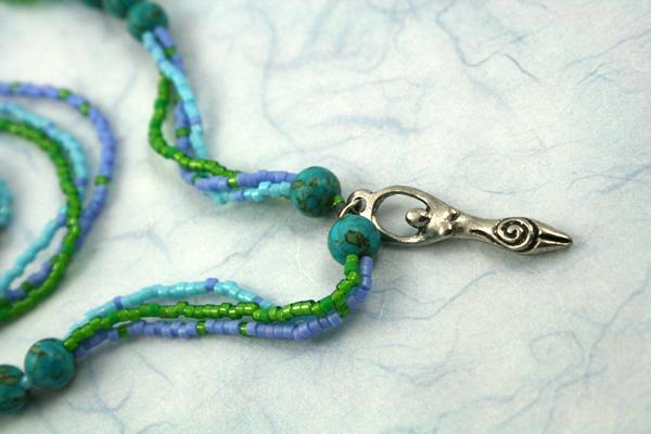 Birth goddess turquoise necklace, large pendant, wavy closeup, etsy, md