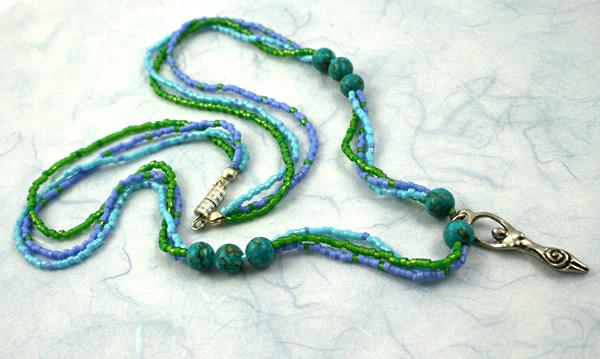 Birth goddess turquoise necklace, large pendant, wavy, etsy, md