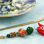 Chinese Teapot bookmark, blue bg, md