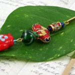 Chinese Teapot bookmark, leaf, md