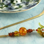 Amber Tea bookmark, blue bg, md
